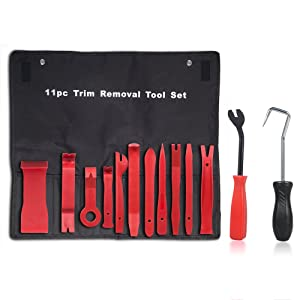 X-Things 13 Pcs Premium Auto Trim Removal Tool Kits with Fastener Hose Remover Pry Installer Tool for Car Vehicle Audio Dashboard Dismantlement Door Panel Upholstery (13 Pcs + Bag)