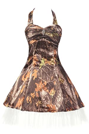 MILANO BRIDE Unique Short Prom Party Dress With Camo Halter Tulle Homecoming Gown-16-Camo&White