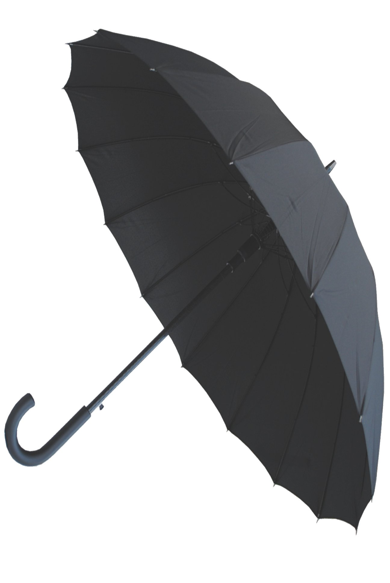 COLLAR AND CUFFS LONDON - Windproof 60MPH - 16 Ribs For SUPER-STRENGTH - EXTRA STRONG - Straight Auto Umbrella Black Canopy
