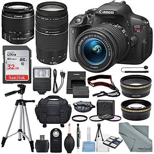 Canon EOS Rebel T5i 18MP DSLR Camera with 18-55mm and 75-300mm Lens along With Filters, 32 GB, Maintenance tools and Deluxe Accessory Bundle