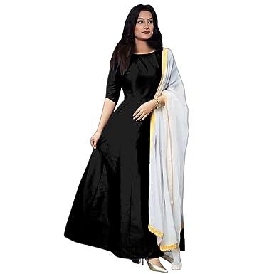 8bfa6f337d7 7th Feb Elegance Women s Taffeta Silk Anarkali Fancy Gown 204 Free Size  (Black)