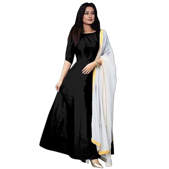 90b6bf4bbd1e 7th Feb Women's Tapeta Cotton Silk Anarkali Fancy Gown (Black, Free Size)