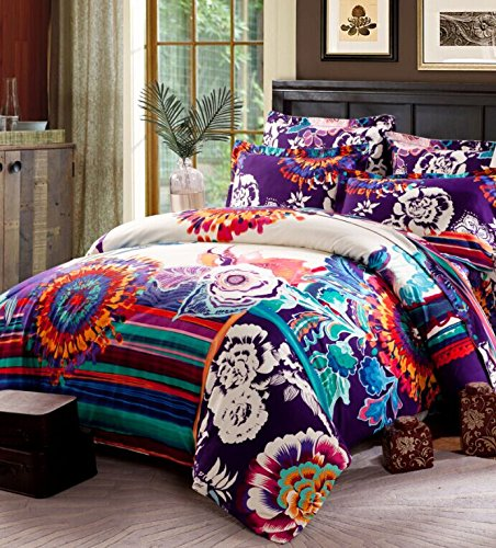 4-Piece Bohemian Bed Set 100% Cotton Print Flying Flowery Cloud Cloud Print Duvet Covers Set Full