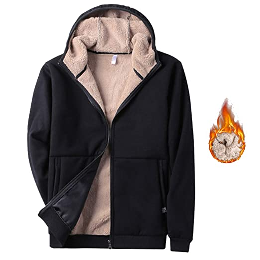 a8b7406de3 Flygo Men's Classic Sherpa Lined Full Zip Up Hoodies Sweatshirt Jacket  Outwear