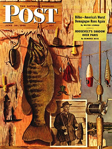 MAGAZINE COVER FISH ANGLING FISHING HOOK LURE FLIES ANGLER USA POSTER 18x24 INCH LV1840 Art Poster Magazine Cover