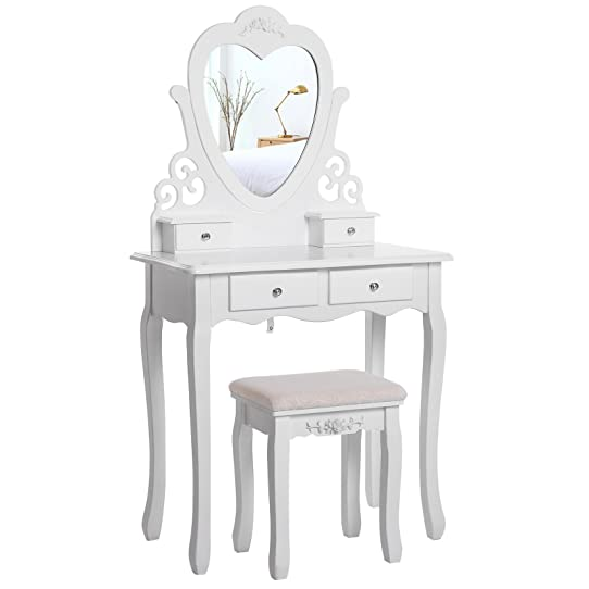 good songmics coiffeuse table blanche de maquillage grand commode rdtw with coiffeuse blanche. Black Bedroom Furniture Sets. Home Design Ideas