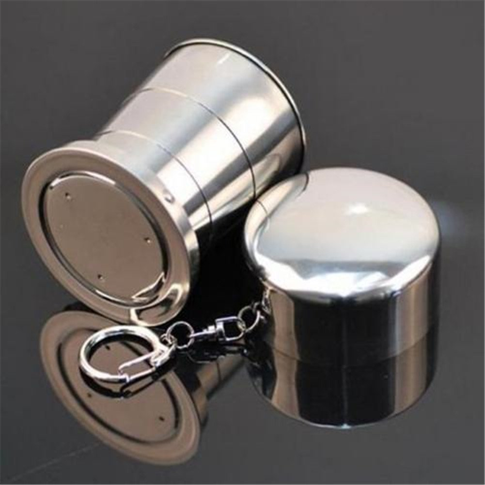 ODN Silver Stainless Steel Outdoor Travel Cup with Keychain Folding Retractable
