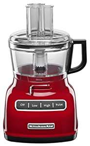 KitchenAid KFP0722ER 7-Cup Food Processor with Exact Slice System - Empire Red (Certified Refurbished)