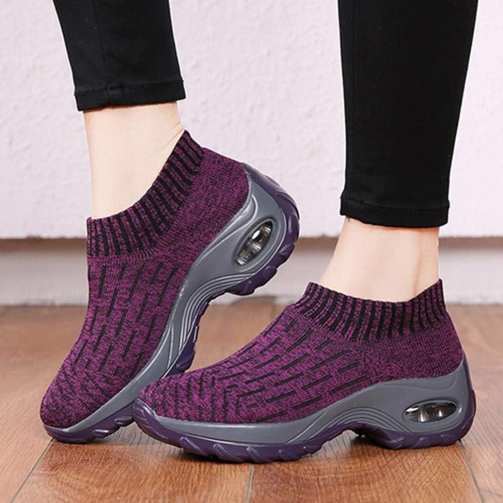 Femme Chaussure Sport en Textile Élastique Respirant de Coussin d'air Antichoc à Bascule Chaussette Printemps été sans Lacets Violet