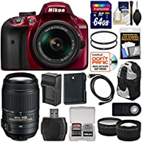 Nikon D3400 Digital SLR Camera & 18-55mm VR DX AF-P Zoom (Red) with 55-300mm VR Lens + 64GB Card + Backpack + Battery & Charger + Tele/Wide Lens Kit