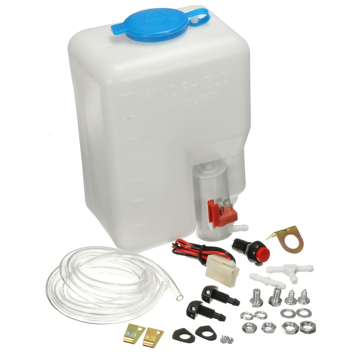 Audew 12V Universal Car Windshield Washer Pump Washer Bottle Kit Washer System with Pump Jet Button Switch 160186