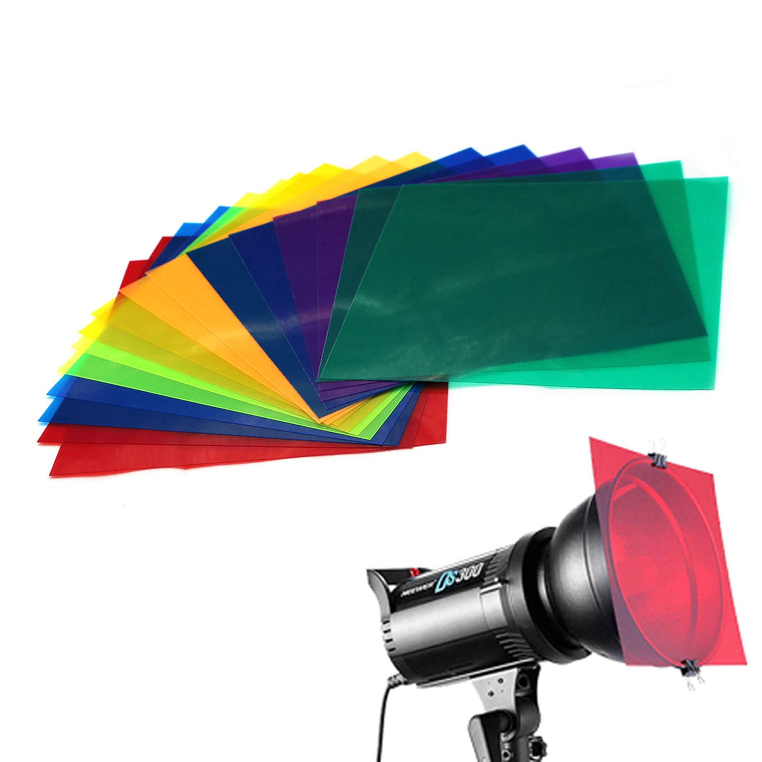 16 Pack Colored Overlays Transparency Color Film Plastic Sheets Correction Gel Light Filter Sheet,20 by 20cm,8 Assorted Colors by color mogu