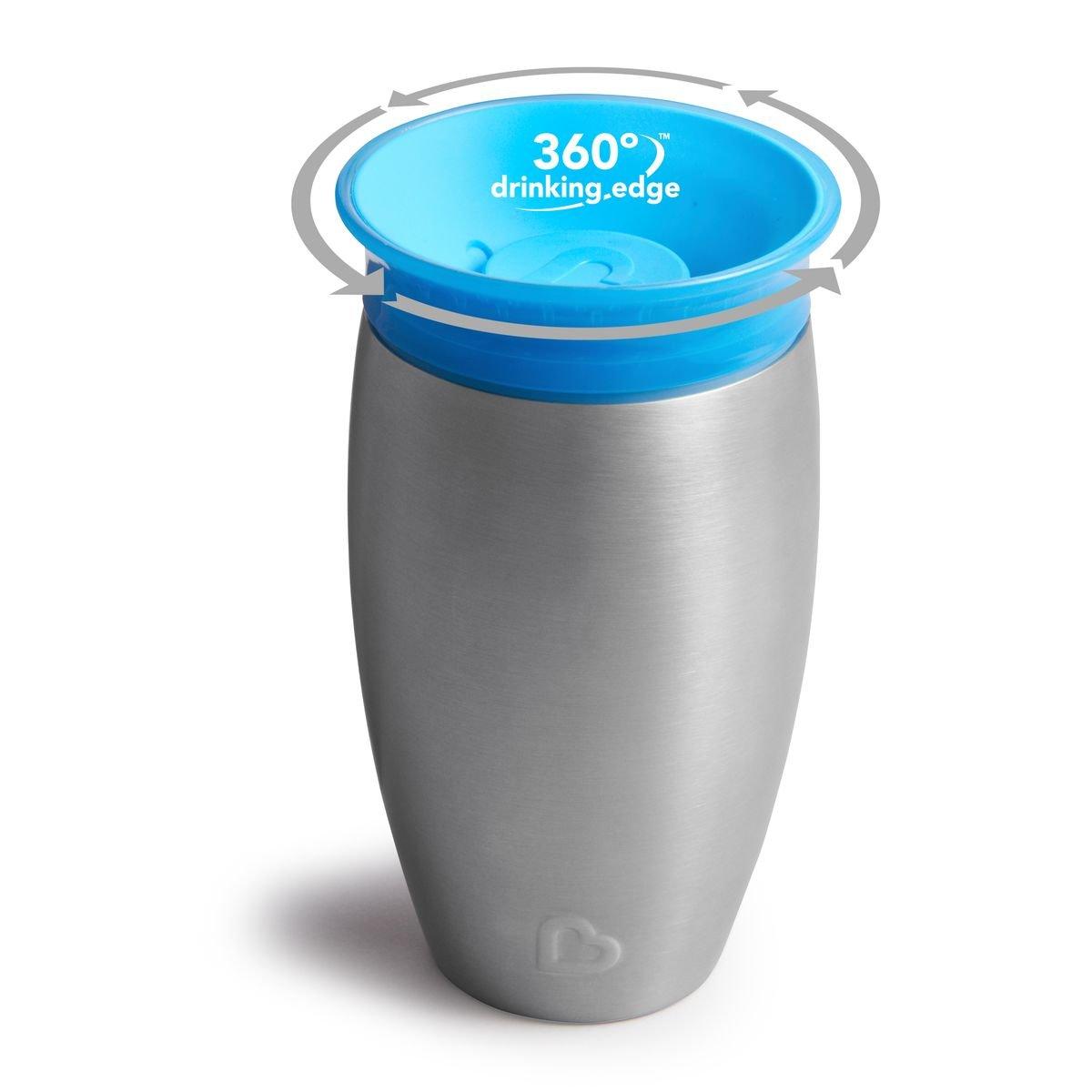 Vaso de acero inoxidable color azul Munchkin Miracle 360/° 296 ml