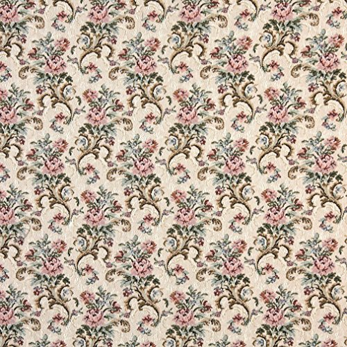 H858 Pink Beige and Green Floral Tapestry Upholstery Fabric by The Yard from Discounted Designer Fabrics