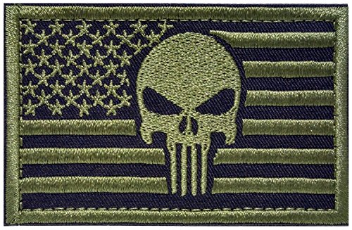 Backwoods Barnaby Punisher USA American Flag Tactical Morale Patch with Hook & Loop (AP Olive Drab Green, 2 x 3)