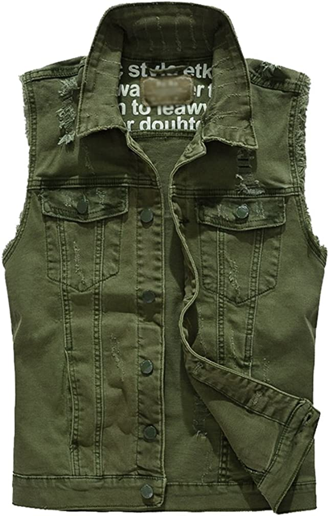Giacca Denim Senza Maniche Uomo Giubbotto Casual Gilet Jeans Giacca Panciotto Jeans