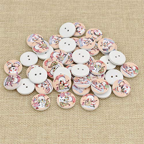 50 Pcs Christmas Wooden Buttons Round Sewing Buttons for Children DIY Craft Gift (Qty - 50Pcs Girl)