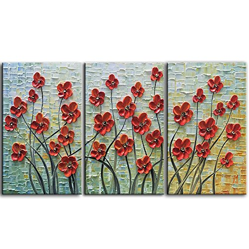 YaSheng Art -28x20inchx3 Oil Paintings On Canvas Palette Knife Texture Red 3D Flowers Paintings Contemporary Abstract Art Paintings Home Decor Wall Art for living room Framed Ready to hang by YaSheng Art