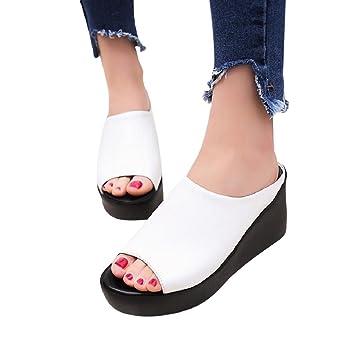 Lady Summer Fashion Leisure Fish Mouth Sandals High Heel Platform Slippers Flip Flops Women Slim Wedges