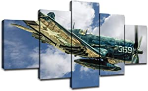 Military Jet Fighter Bomber F4U Corsair Aircraft Airplane Wall Decor Picture Canvas Art HD Prints 5 Piece Wall Decorations Poster Framed Ready to Hang(60''Wx32''H)