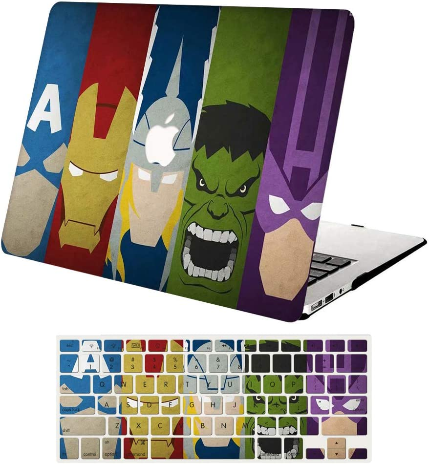 """MacBook Pro 13"""" Case 2016-2019 Release A2159/A1989/A1706,AJYX Plastic Hard Shell Case Cover+Keyboard Cover Skin for MacBook Pro 13 with Touch Bar & Touch ID, DH330 Marvel"""