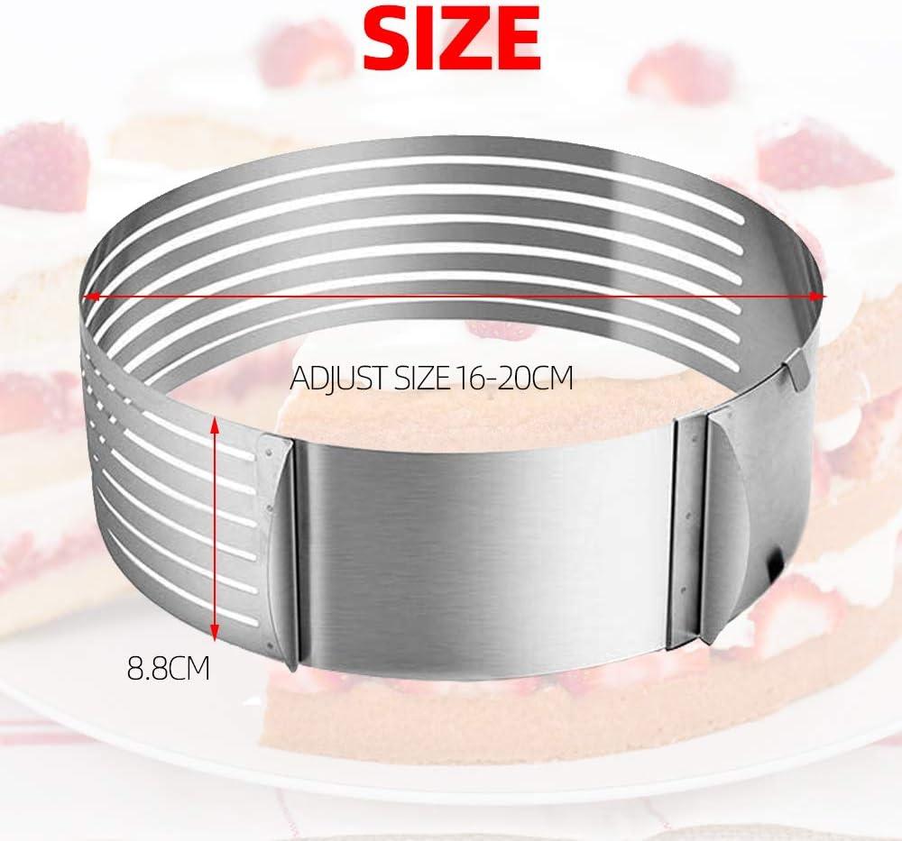 Tortenring mit verstellbarem Durchmesser von 16 bis 20 cm,Edelstahl Tortenschneider Ring Mousse Ring