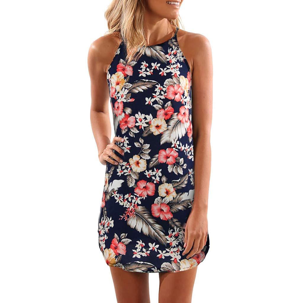 Garish Fashion New Women Sleeveless Sling Halter Neck Floral Print Casual Mini Dress Retro Style Blue