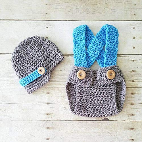 a09568ba Amazon.com: Crochet Baby Newsboy Hat Beanie Diaper Cover Suspenders  Overalls Baby Boy Set Infant Newborn Photography Photo Prop Baby Shower Gift:  Handmade