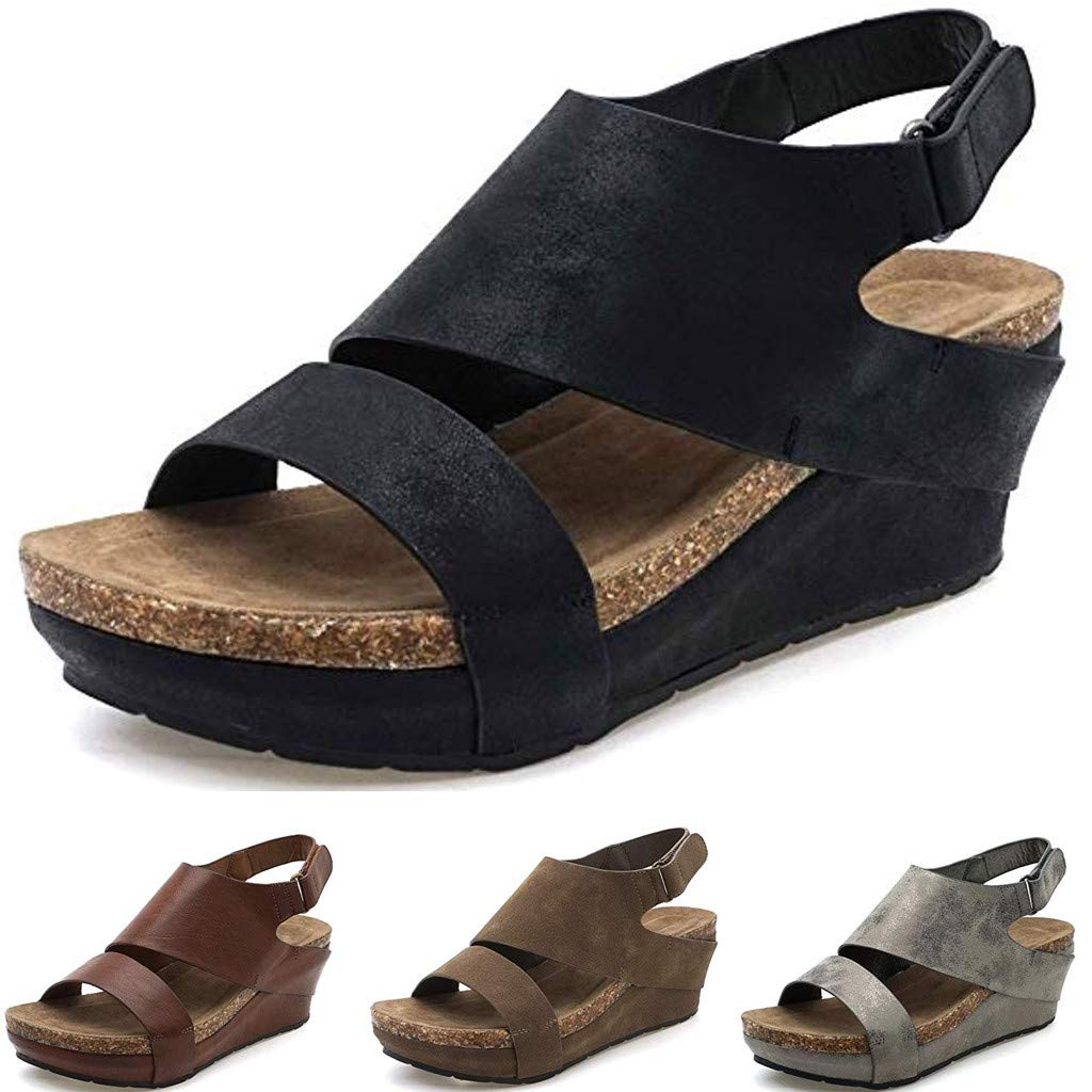 Kawaiine Women's Promotes-Excellence Platform Sandal Roman Slippers Shoes Gray by ★Kawaiine★_Clothing (Image #5)