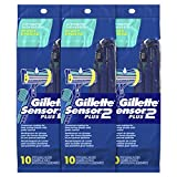 Gillette Sensor2 Plus Men's Disposable Razor, Pivot, 10 count (Pack of 3), Mens Disposable Razor/Blades