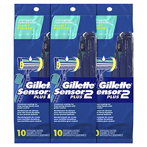 Gillette Sensor2 Plus Men's Disposable Razor, Pivot, 10 count (Pack of 3), Mens Disposable Razor / Blades (Packaging May - Head Razor Pivoting