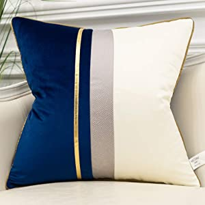 Avigers 18 x 18 Inches Navy Blue White Gold Leather Striped Patchwork Velvet Cushion Case Luxury Modern Throw Pillow Cover Decorative Pillow for Couch Living Room Bedroom Car