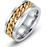 Men's Fashion Stainless Steel 18k Gold Plated Width 8mm Spinner Chain-shaped Ring
