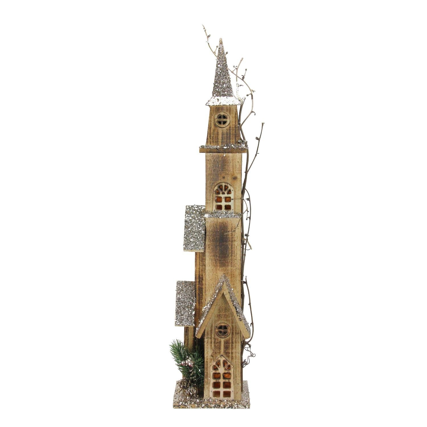 Northlight 28'' LED Lighted Tall Rustic Brown Wooden Church Christmas Decoration