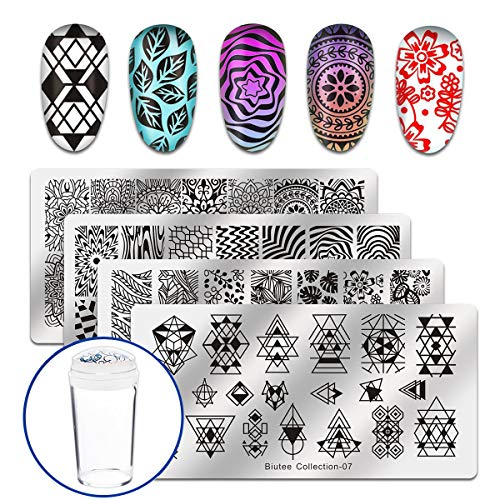 amp Stamping Templates Stamper Scraper Kit 4 Manicure Plates Set with 1 Polish Stamper  Leaves Flowers Geometric letter Nail Template with nail  ()