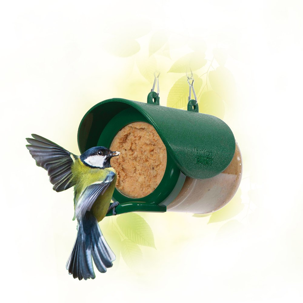 Flutter Butter Bird Feeder Domed Roof & Built-in Chain Hanging Feeder for Small Birds by Happy Beaks