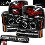 99 chevy stepside - For 2003-2006 Chevy Silverado 1500 Stepside Black Halo Projector Headlights + Tail Lights + Smoked LED 3rd Brake Lamp
