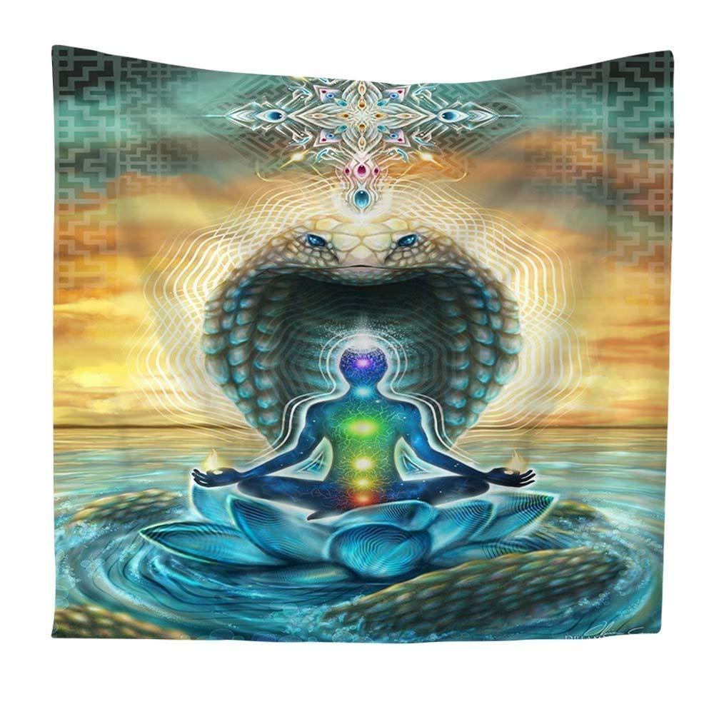 Qcwn indien Tapisserie Yoga Zen D/écoration murale /à suspendre Sept chakras et m/éditation Home /& Garden Art D/écorations Polyester 2 59Wx51L