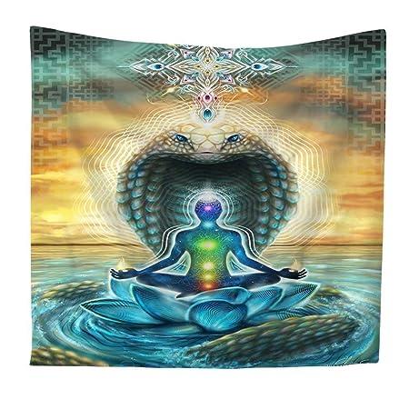 QCWN Tapiz Indio de Yoga, Zen, para Colgar en la Pared, Siete Chakras y meditación, decoración para el hogar y el jardín, poliéster, 4, 78Wx59L