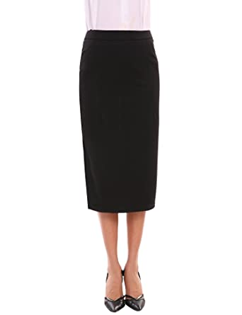 55e1abb513fd Zeagoo Womens Stretch Midi Pencil Skirt for Office Wear Below Knee Length  Plus ,Black,