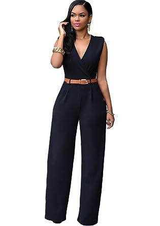 Amazon.com: Dlgjpa Women's Rompers Jumpsuits Long Wide Leg Dressy ...