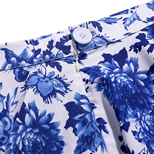 Années Blue White Rockabilly Inspiration 1950 Unwrapping And Floral Dot Femmes Full Vintage Polka Skirt qtOwPaC