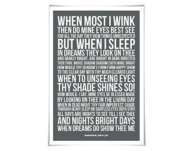Amazoncom Sonnet 43 William Shakespeare Quote Poster 60 Colours3