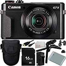 Canon PowerShot G7 X Mark II Digital Camera 9PC Accessory Bundle. Includes 16GB Memory Card + Replacement NB-13 Battery + AC/DC Rapid Home & Travel Charger + Pistol Grip/Table - International Version (No Warranty)