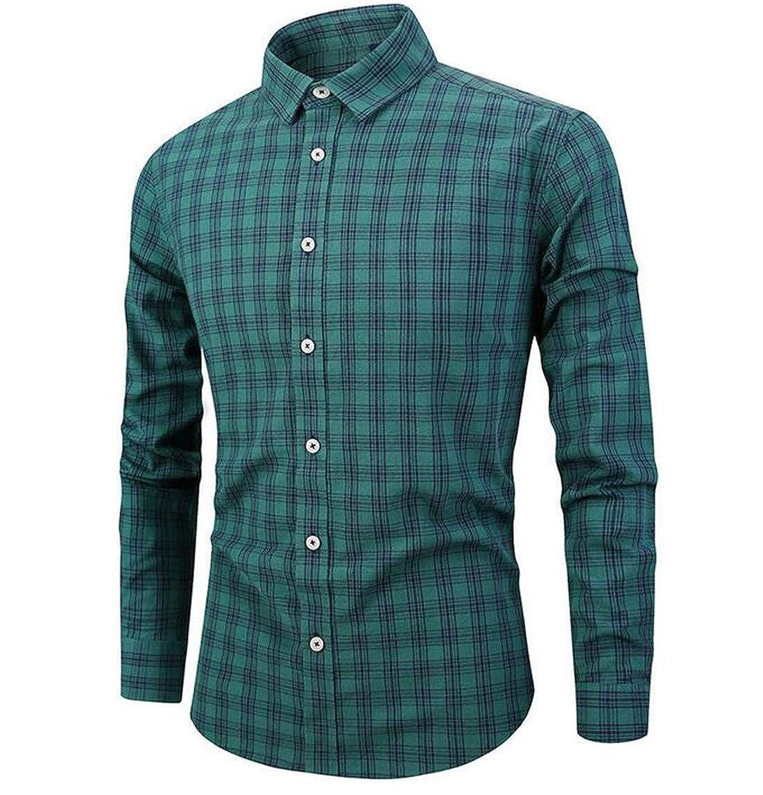 KLJR Men Slim-Fit Plaid Long Sleeve Button Down Dress Shirts