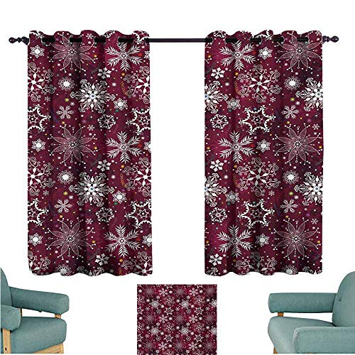 DONEECKL Bedroom Curtains 2 Panel Winter Floral Flakes with Colorful Swirls Dots and Stars Confetti Xmas Party Noise Reducing Curtain W55 xL45 Maroon White Multicolor