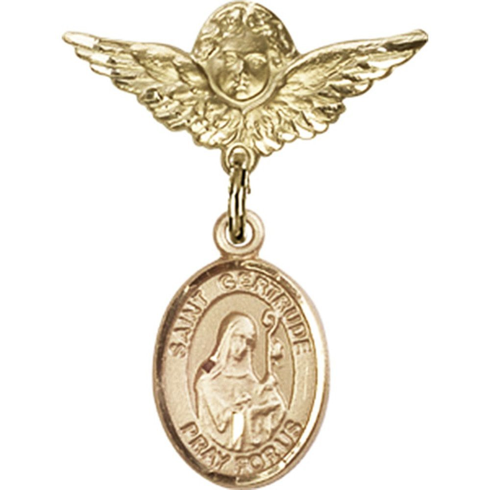 14kt Yellow Gold Baby Badge with St. Gertrude of Nivelles Charm and Angel w/Wings Badge Pin 1 X 3/4 inches