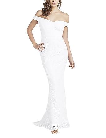 LIPSY Womens Bridal Lace Bardot Maxi Dress White US 8 (UK 12)