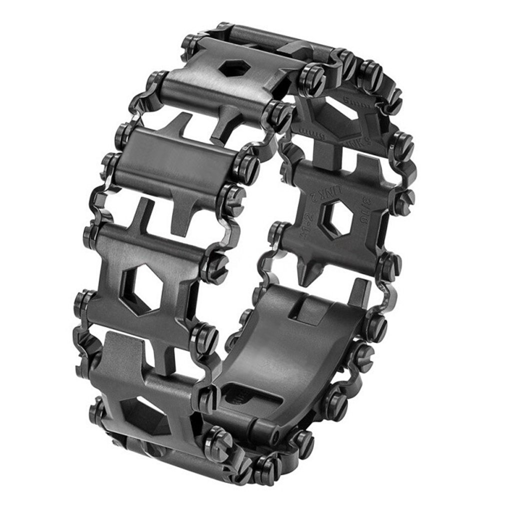AMGJ Tread Bracelet, Outdoor Multifunction Bracelet Wristband,Smaller Travel Friendly Wearable Multitool, Black