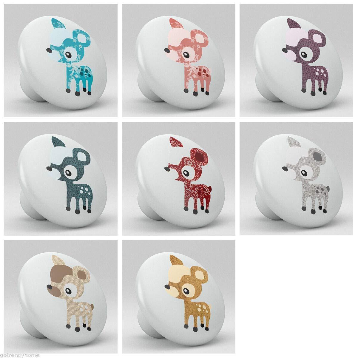 Charliebrown Knobs Set of 8 Baby Deer Fawn Nursery Ceramic Knobs Pulls Closet Drawer Dresser 1100 by Charliebrown